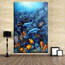 No Framed Dolphin With Fish Animal Ocean World Wall Decoration Art Picture Poster Print Canvas Oil Painting Large Wall Art