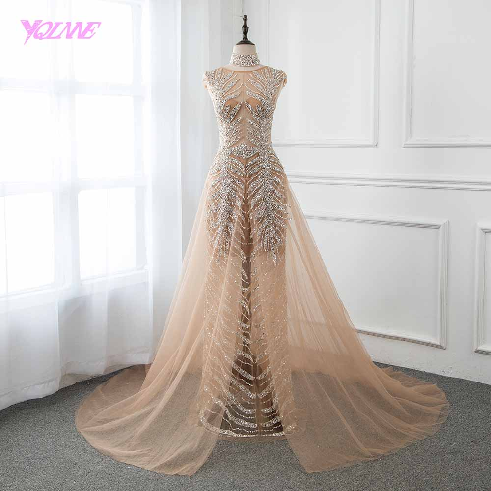 YQLNNE 2019 High Collars Beading Evening Dress Long Champagne Tulle Evening Gown Competition Pageant Dresses Vestido