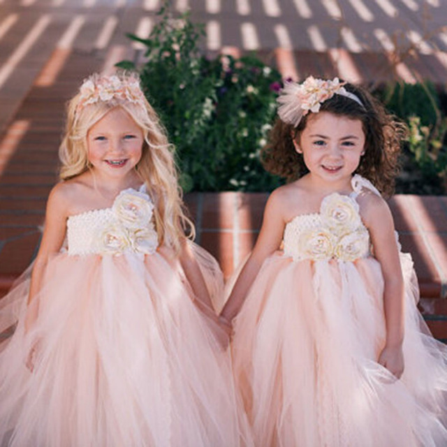 Champagne Summer Flower Girls Dresses Beige Kids Tutu Dresses for ...