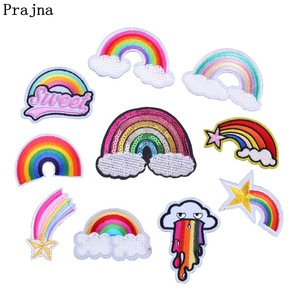 Prajna Rainbow Patch Iron-On Embroidered Patches Sewing Applique Patchwork Accessories Cartoon Badges For Clothes DIY Stickers