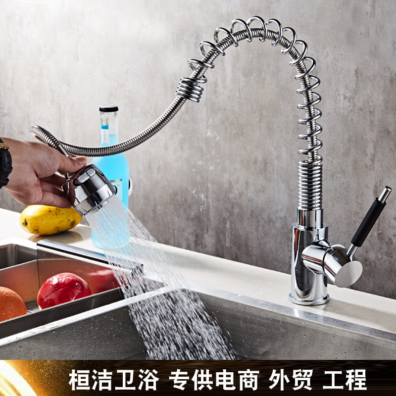Spring Kitchen Faucets Brass Polished Silver Crane Bathroom Faucet Pull Out Single Handle Spray Sink Taps Hot Cold Deck Mounted electroplate kitchen faucets brass polished silver bathroom faucet double handle single hole mixer taps hot cold deck mounted