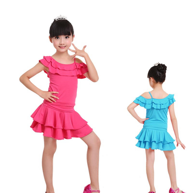 Nye Barn Kids Latin Samba Rumba Dance Kjoler Girls Latin Skirt Set Dance Practice Kostymer