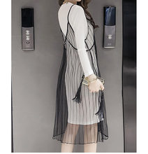Summer Dress Women Condole Perspective Sexy Black Veil Tshirt Dress Fashion Harness O-Neck Two Piece Set Long Sleeve Dress