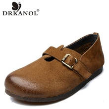 DRKANOL New 100% Authentic Leather Shoes Women Flats Loafers Ladies Genuine Casual Slip On Flat H19-12