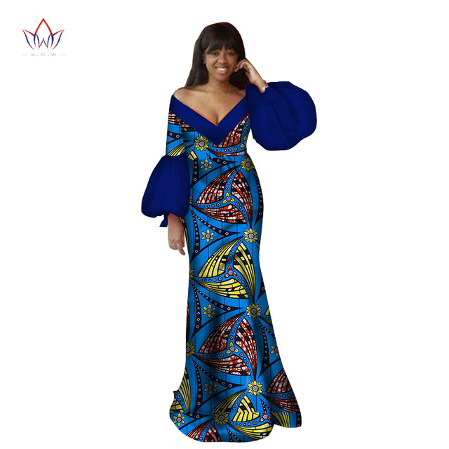 a53eef08cb US $59.89 |2018 Autumn traditional african clothing dashiki floor length  african v neck dresses for women full sleeve none 6xl BRW WY2368-in Africa  ...