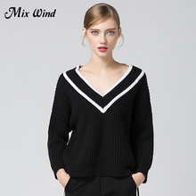 Mix Wind 2017 Autumn And Winter New Rough Wool V-Neck Thick Black And White Stripes Hit Color Loose Sweater High Quality