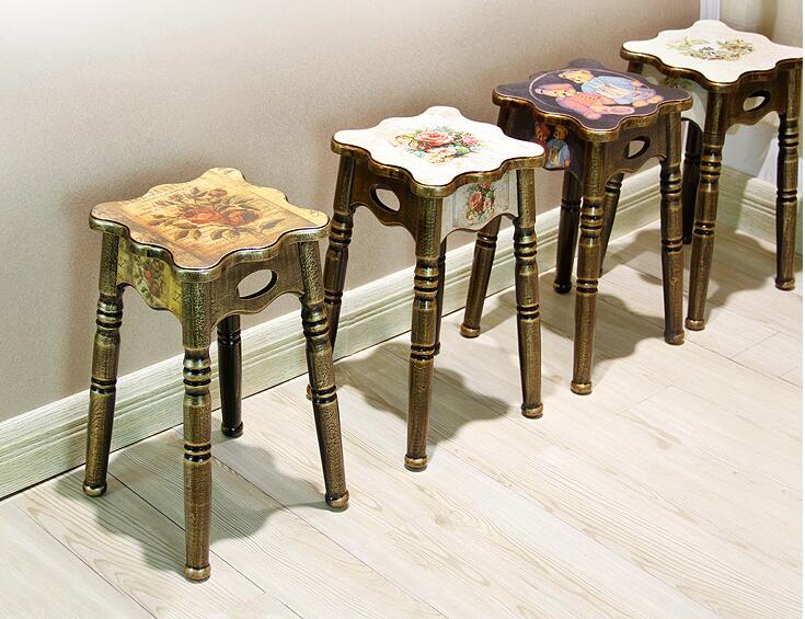 Modern wood stools... Household small stools. Simple round stool 17 styles shoe stool solid wood fabric creative children small chair sofa round stool small wooden bench 30 30 27cm 32 32 27cm