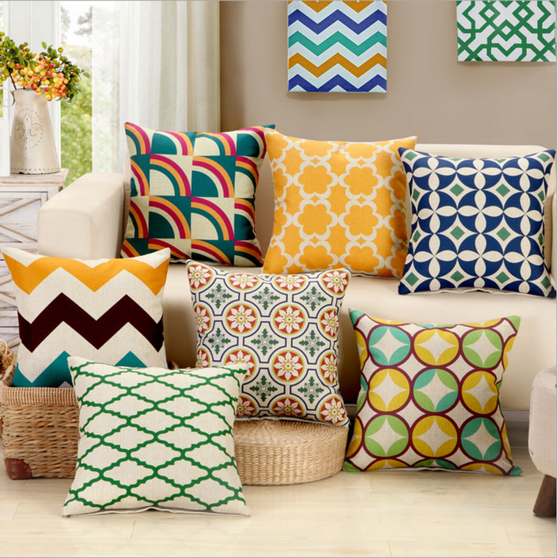 45cm*45cm Bright color geometric pattern pillow case and sofa cushion cover pillow cover for Household decoration