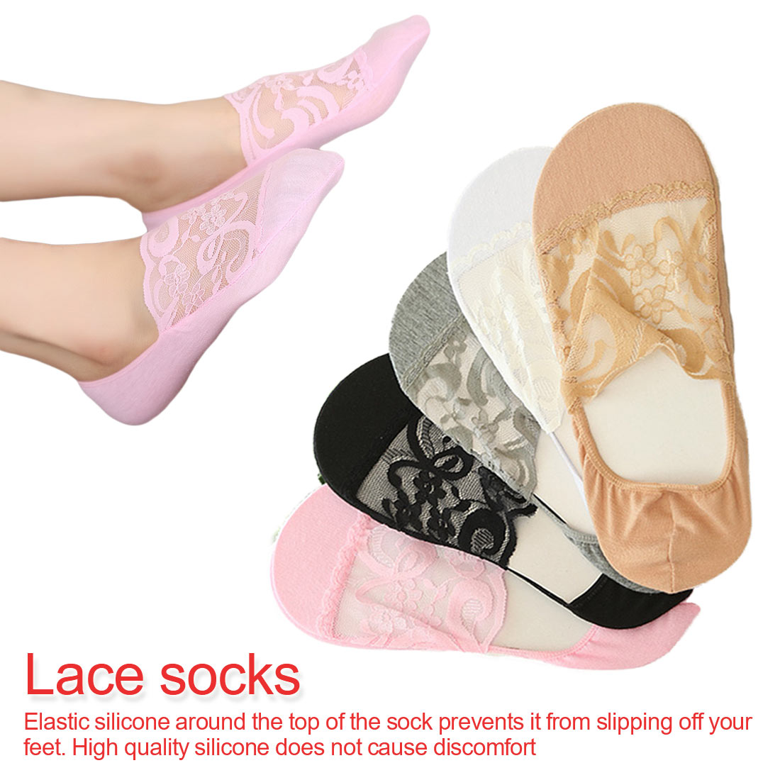 Invisible Socks Women Summer Lace Silicone Ankle Short Womens 5 Colors shallow socks