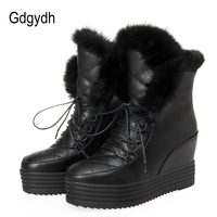 Gdgydh Fashion Fur Snow Boots Women Lacing 2017 New Winter Shoes Platform Warm Round Toe Height