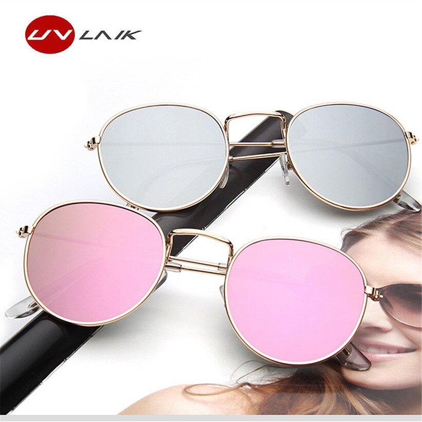 UVLAIK Mujeres Marcos De Metal gafas de Sol Redondas Brillantes Lentes de Revestimiento Reflectante Gafas de Sol para Mujeres de la Marca Retro Gafas Gafas