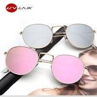 UVLAIK Women Metal Frames Round Sunglasses Bright Reflective Coating Lenses Sun Glasses for Women Brand Retro Goggles Eyewear