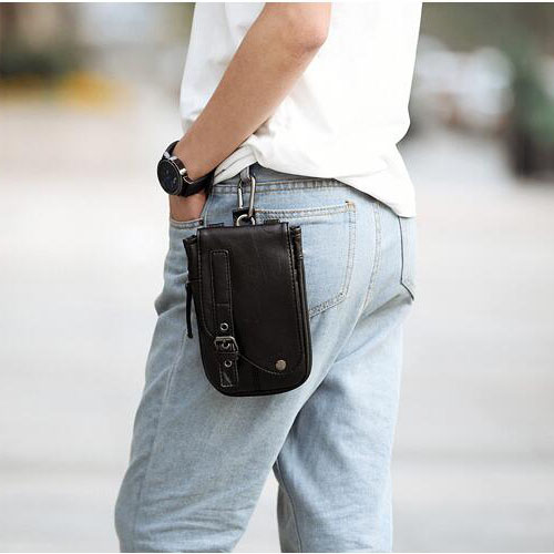 KISUMATER Fashion Waist Pack Men Casual Fanny Pack Big Capacity Purse Waterproof Leather Belt Zipper Bags Wallet Free Shipping