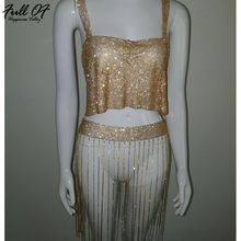Sexy Club Women Metal chain Diamonds Summer dress 2 Two piece 2018 beach Glitter Sequins Luxury Nightclub Party Dresses vestidos цена