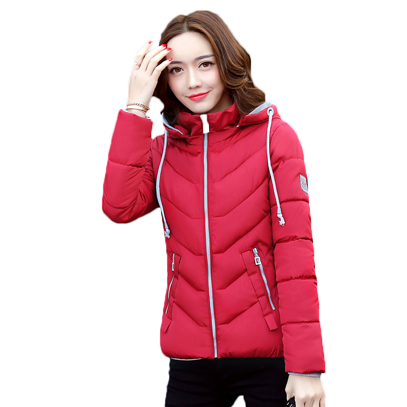 2017 New Women Winter Parkas Brand Clothing Cotton Padded Short Casual Jacket High Quality Red Hooded Coat Outwear Plus Size 2017 autumn winter women cotton jacket women knitted hat black cotton jacket high quality casual comfort clothing ls146