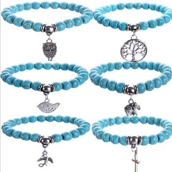 Natural Howlite Stone Elephant/Owl/life tree/Bird/Cross Charms Bracelet