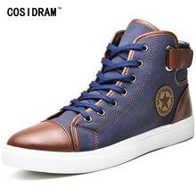 1f8c1103 Cosidram модные высокие Мужская обувь холст Для мужчин повседневная обувь  для осень-зима мужской обуви