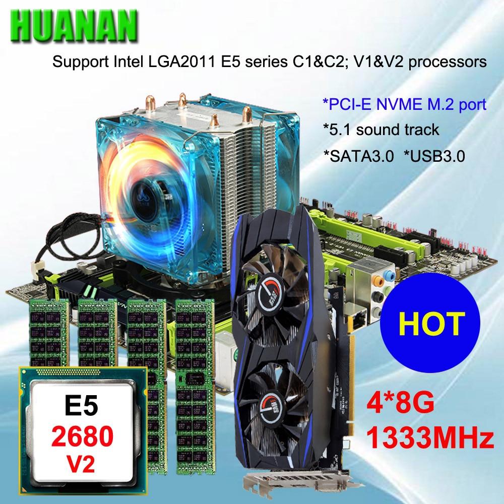 Marca de la placa base en venta HUANAN ZHI X79 Placa base con M.2 ranura para la tarjeta de vídeo GTX750Ti 2G CPU Xeon E5 2680 v2 RAM 32G REG ECC