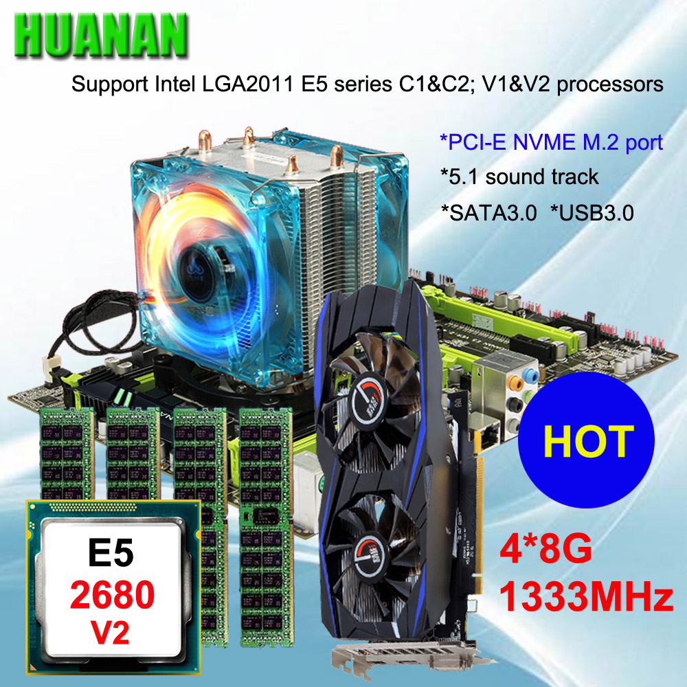 Marque carte mère en vente HUANAN ZHI X79 carte mère avec M.2 fente pour carte vidéo GTX750Ti 2g CPU Xeon E5 2680 v2 RAM 32g REG ECC