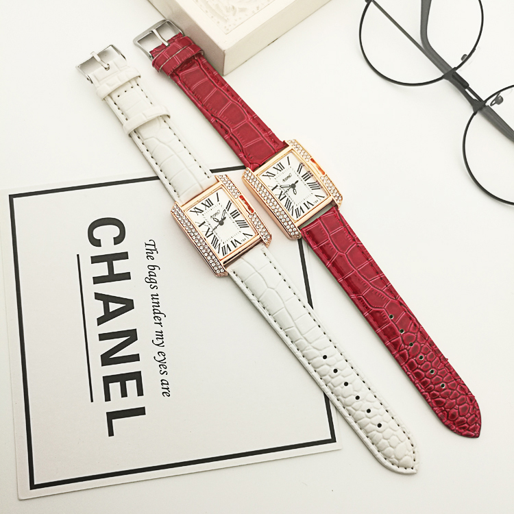 Fashion newest leather square dial diamond women watches quartz ladies watch clock horloges vrouwen montre femme bayan kol saati