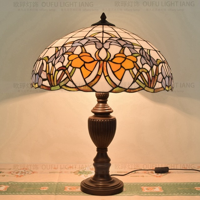 50CM Mandala flower simple glass Tiffany living room restaurant bar club decorative table lamp