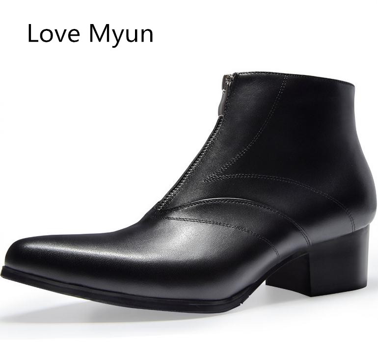 Autunm winter mens simple stylish genuine leather boots high heels pointed toe zip ankle boots shoes men career work boots 36 44Autunm winter mens simple stylish genuine leather boots high heels pointed toe zip ankle boots shoes men career work boots 36 44