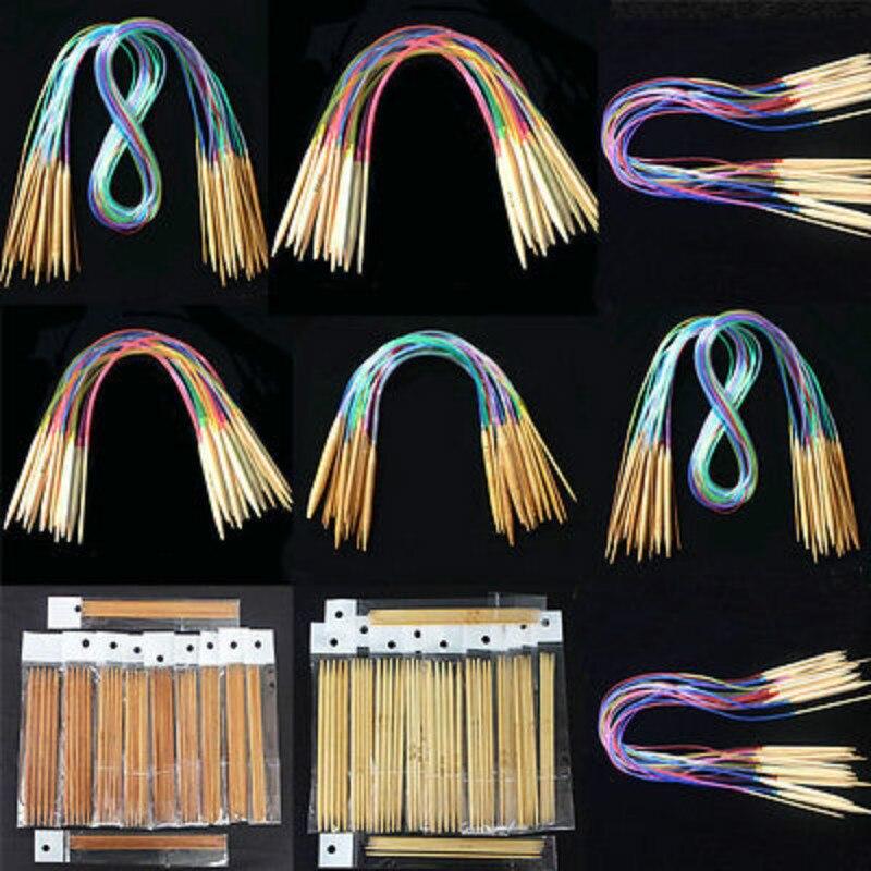 18 stücke Doppel Wies Bambus Stricken Nadeln Pullover Handschuh Stricken Tool Set Nützlich Bambus Stricknadeln 40-120 cm lange