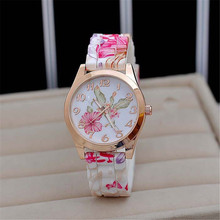 Louise Fashion Women Girl Causal Dress Watch Silicone Rose Flower Print Jelly Quartz WristWatches Clock reloj
