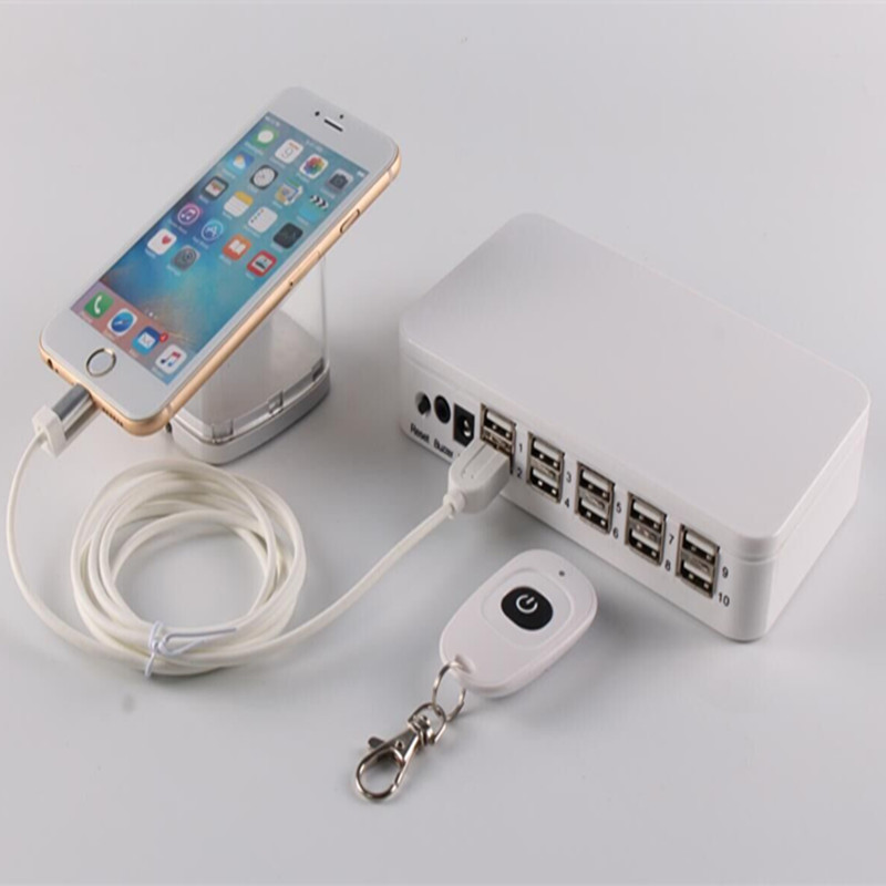 10 port mobile phone font b smartphone b font retail alarms security remote control display system