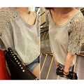 New  Summer Women's Lace T-Shirt Hollow Out Split Joint Short Sleeve Big Size Casual T-Shirt Tops