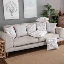 Housse de coussin brodée, décoration de maison, toile géométrique gris clair, en coton, carrée, 45x45cm