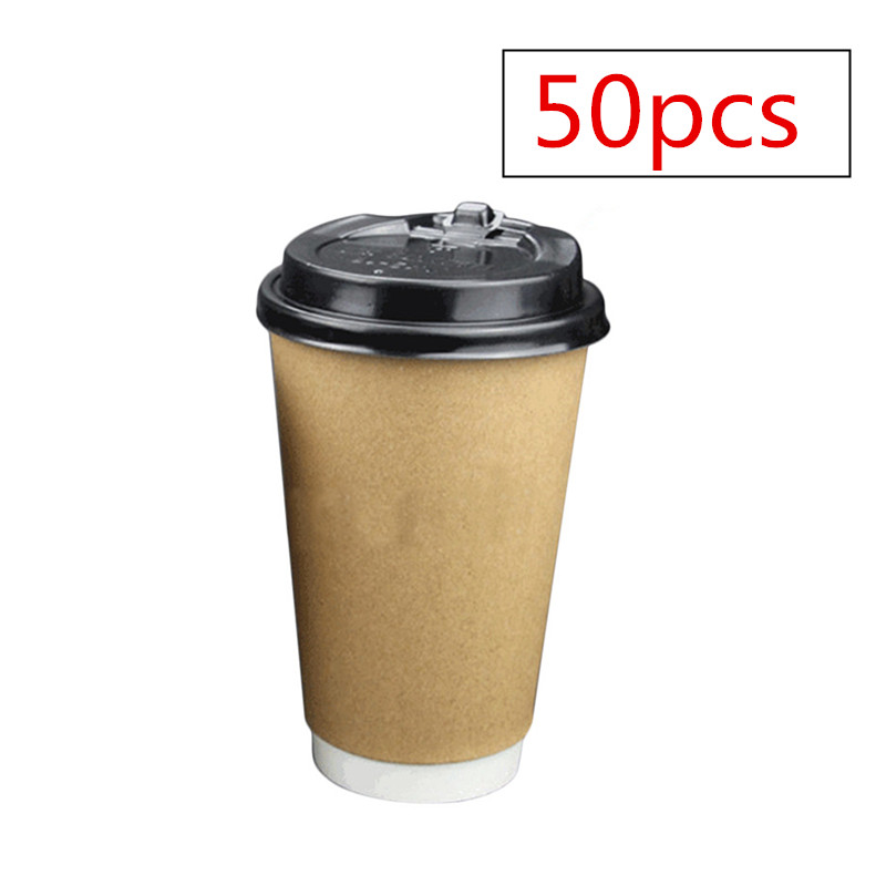 50Pcs Disposable Double Layer Kraft Paper Coffee Cups 400ml + 50Pcs 90mm Disposable Dome Switch Lids Кубок