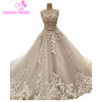 Real Photo Ball Gown Wedding Dresses Gowns O Neck Cap Sleeve Beaded Lace Gray Wedding Dress
