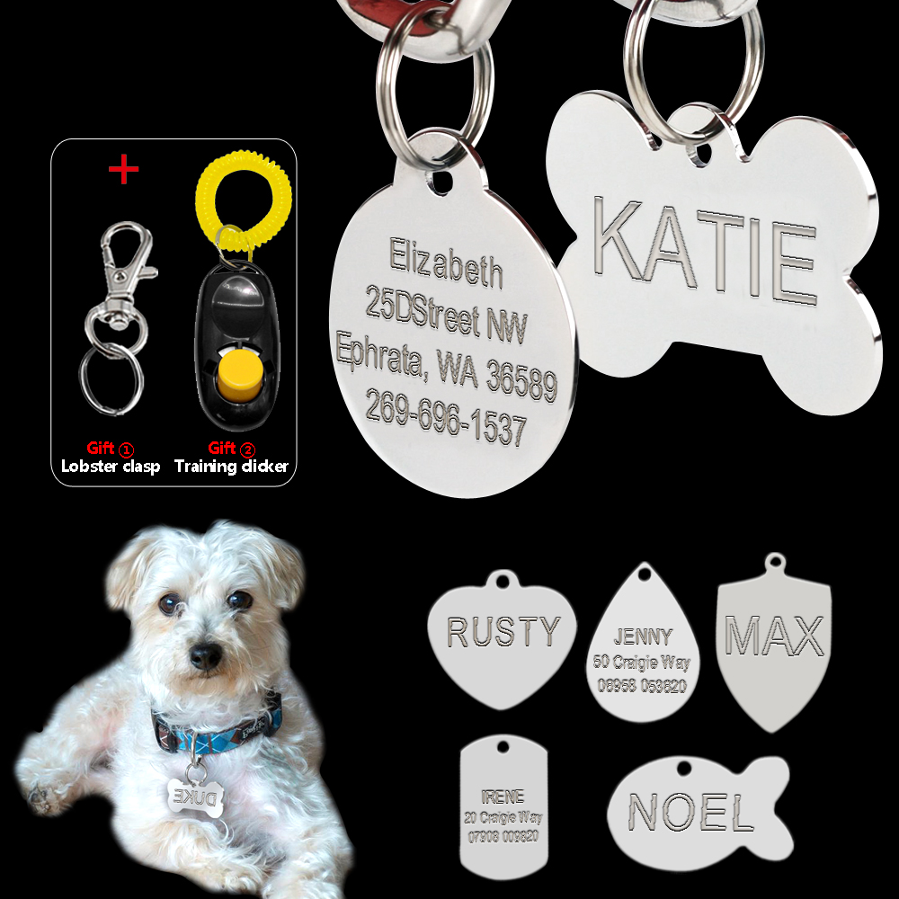 Stainless Steel Engraved Dog Tag Custom Dog Accessories Double Sided 7 Shapes Personalized Dog & Cat  ID Tags With Free Clicker