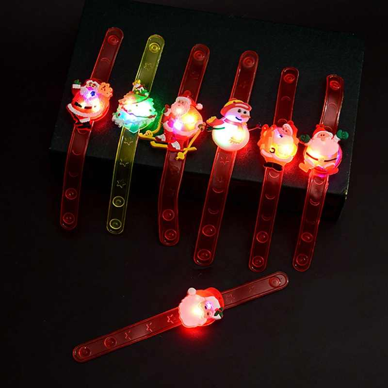1PCS Random Color Christmas Gift Children Fashion Light Up Flashlight Wristband Santa Claus LED Bracelt For Kids Party Jewelry