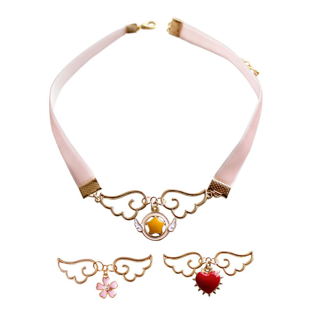 66b3794cff413 US $1.49 | fashion jewelry items metal enamel sakura star wand wing heart  card Captor pink velvet choker sailor moon necklace-in Choker Necklaces  from ...