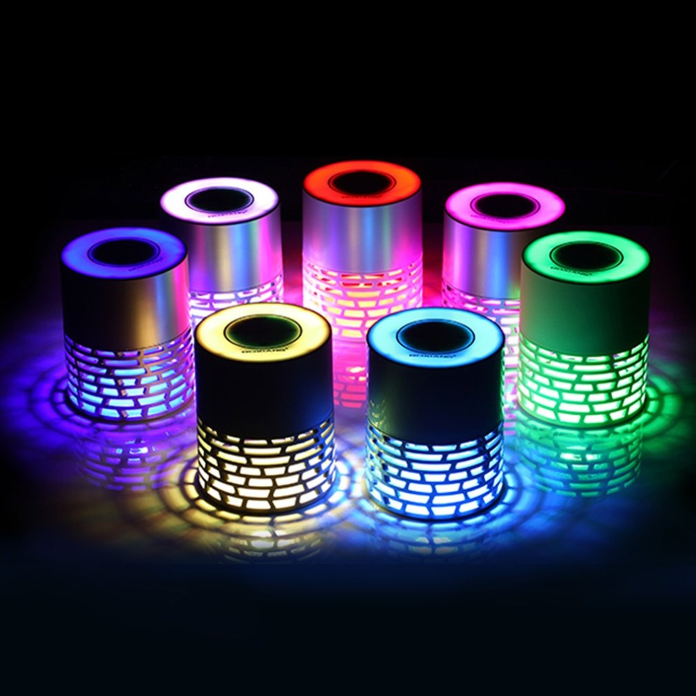Q5 Wireless Bluetooth Speaker Colorful LED Lamp Touch Button Hollow Speaker with Mic FM Radio Support AUX TF Card bluetooth speaker portable wireless speaker with led display support usb tf card aux mode fm radio for phone samsung xiaomi