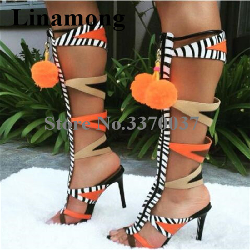 Women Fashion Open Toe Suede Leather Patchwork Knee High Stiletto Heel Gladiator Boots Zipper Hairball High Heel Sandal BootsWomen Fashion Open Toe Suede Leather Patchwork Knee High Stiletto Heel Gladiator Boots Zipper Hairball High Heel Sandal Boots