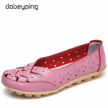 2018 Summer Women's Casual Shoes Genuine Leather Woman Flats Slip On Femal Loafers Lady Boat Shoe Big Size 35-44 In 8 Colors
