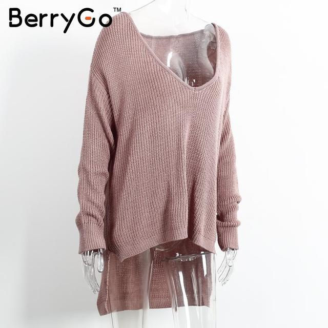 BerryGo Sexy off shoulder split knitted sweater Women brand black pullovers knitwear Autumn winter 2016 white jumper pull femme