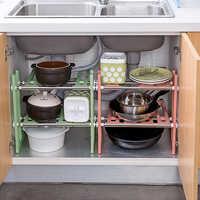 vanzlife Adjustable shelf under ground sink receive a rack shelf in the kitchen kitchen utensils and receive pot rack shelf rack
