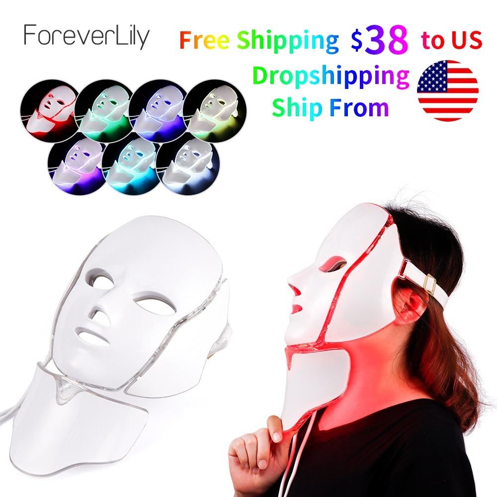 Новые 3/7 цветов фотон Электрический светодиодный маска для лица с шеи омоложения кожи против акне, морщины Красота лечения для использовани...
