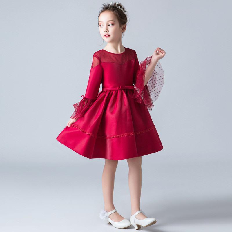 2019 Kids Girls Princess Pageant Wedding Party Dress Teenage Girls Wave Point Gauze Dress Children Bowknot Elegant Vestidos Q152