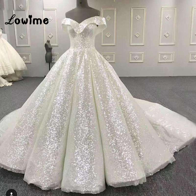 Puffy Arabic Prom Dresses White Sequined Shiny Party Dress Vestido ...