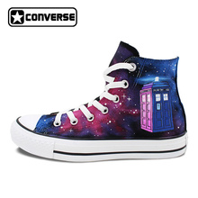 New Unique Police Box Galaxy Men Women Converse All Star Canvas Shoes Design Hand Painted Sneakers Skateboarding Shoes(China)