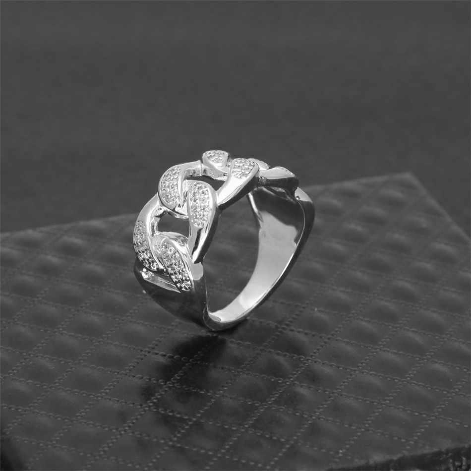 U WINเย็นบุรุษฮิปฮอปเพทายแหวนทองสีเงินสะโพกhopสไตล์ทองแดงเพชรAAA CZคิวบาแหวนผู้หญิงแฟชั่นพังก์เครื่องประดับ