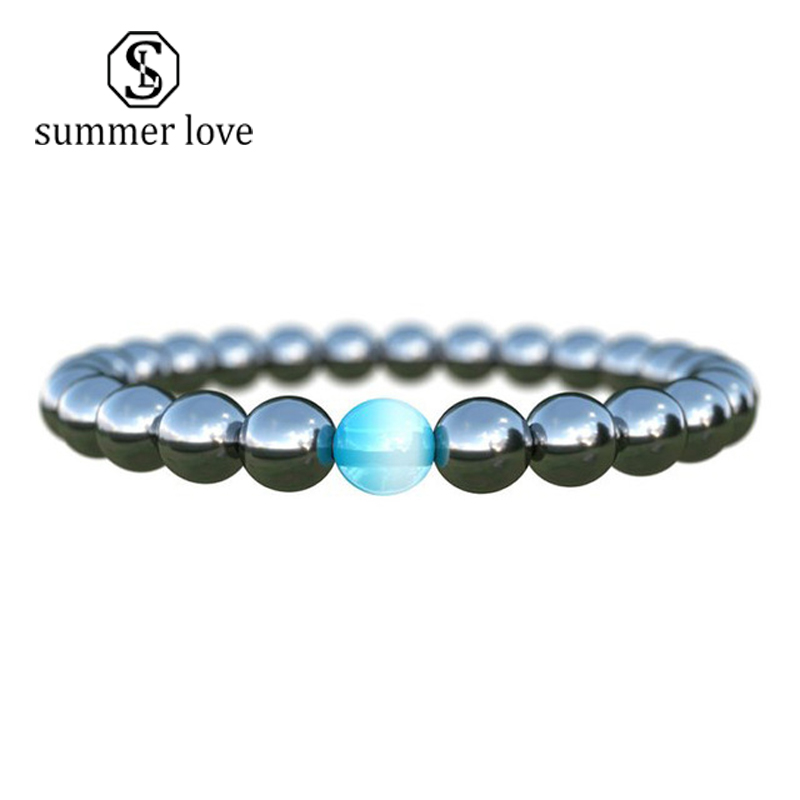 Biomagnetism Nature Magnetic Bracelet Handmade 8mm Beads Natural Stone Health Care Weight Loss Bracelet Wristband DIY Jewerly