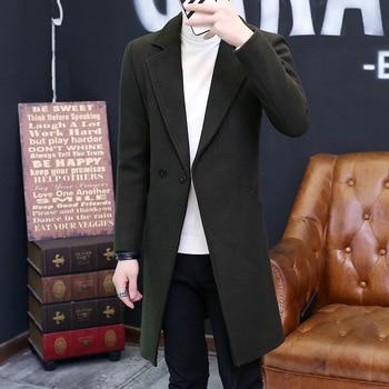 Wool coat slim men long wool woolen coat jacket Mens Casual