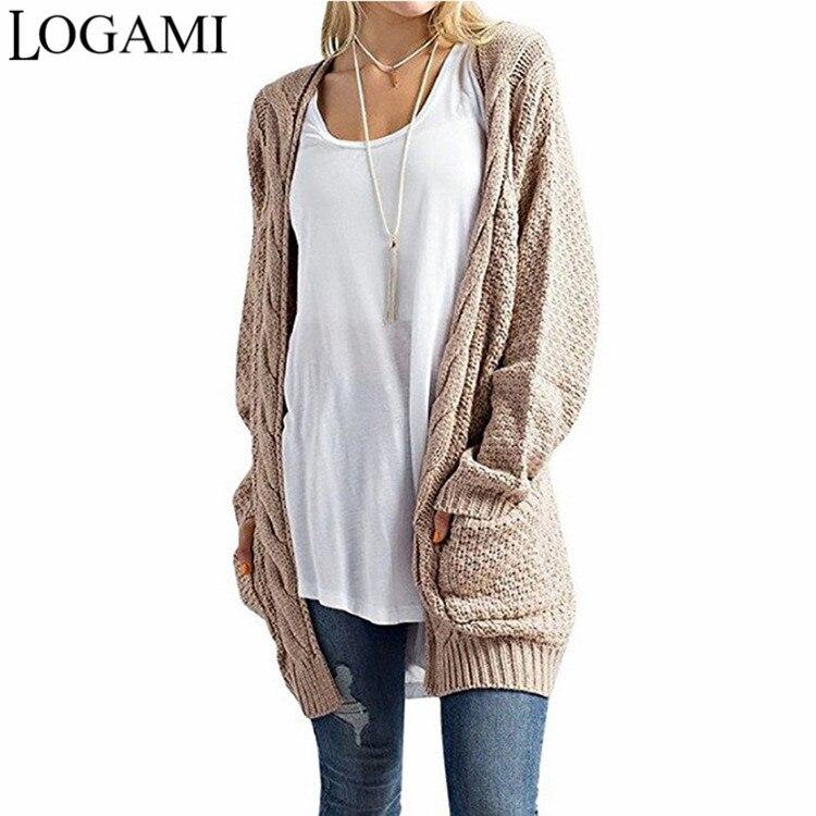 Cárdigan LARGO DE LOGAMI de Mujer de manga larga de punto suéter Cardigans Otoño Invierno mujeres suéteres 2017 Jersey Mujer Invierno