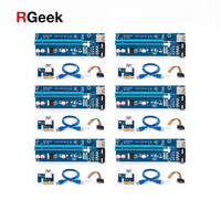 6PCS VER006 60CM PCIe PCI E 1X To 16X Riser Card With 15Pin SATA To 4Pin